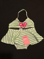 NWT Gymboree Girls Swim Shop Green Striped Butterfly Tankini Swimsuit Sz 12-18 M