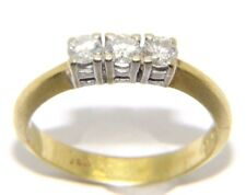 Mujer 14 quilates/14 quilates oro anillo trilogy set con diamantes,talla RU N