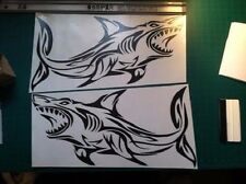 2 Tribal Shark boat Decals large fish Fishing graphics big sticker sailboat