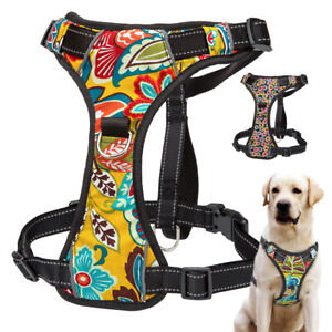 Reflective Front Leading Dog Harness With Handle Adjustable Floral Padded Vest