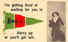 Himrod New York Woman Traveler Pennant Flag Antique Postcard K26430