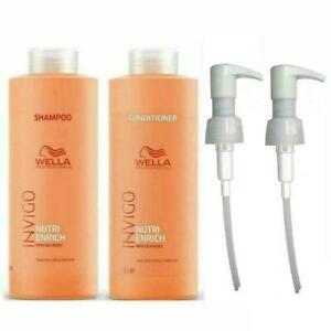 Wella Invigo Nutri Enrich Shampoo and Conditioner Litre Duo Pack + Free Pumps