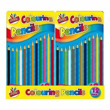 Pack Of 12 COLOURING PENCIL KIDS ADULT BOOK TRAVEL HOLIDAY FULL LENGTH IN TIN