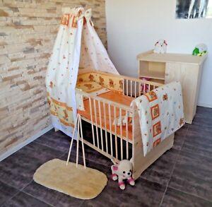 Kinderzimmer Babyzimmer Komplett Set Babybett Gitterbett 5Farben Kommode MASSIV