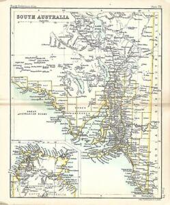 Original 1896 Bartholomew Map SOUTH AUSTRALIA Colony Railroads Adelaide Glenelg