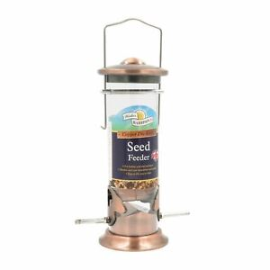 Walter Harrisons 20cm Seed Garden Bird Feeder - Quality Brushed Copper Finish