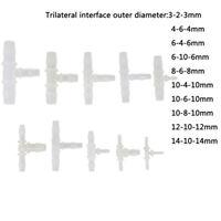 1Pc Té en plastique raccord tuyau flexible 3mm-14mm 3 voies T-forme à ardillon