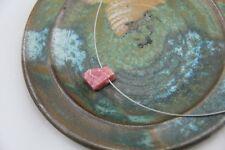 Collier Rhodochrosit Stahlseil Kette Stein rosa rot rose Stahlseide Edelstahl