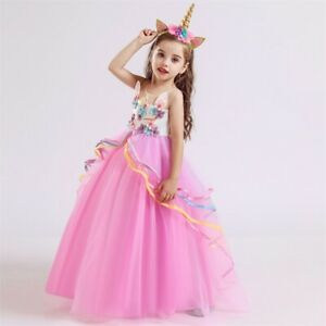 Lace Flower Girl Unicorn Dress Birthday Party Long Gown Size 5-14