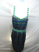 I Love Ronson Womens Large Summer Dress Sleeveless Lined Multi-color Knee-Length