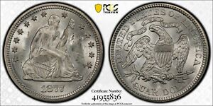 1877 Seated Liberty 25c MS 64+ PCGS Witter Coin
