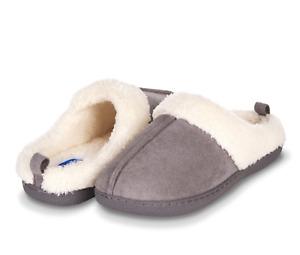 Floopi Womens Indoor Outdoor Fur Lined Clog Slipper M 7-8 W/Memory Foam (Grey)