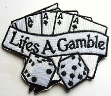 VEGAS CASINO LIFES A GAMBLE POKER - SEW ON BIKER MOTORCYCLE PATCH 85mm x 75mm