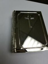 Non-tranish silver-plated Book shaped box with cross