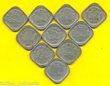 INDIA 1957, 1958, 1959, 1960, 1961, 1962, 1963, 1964, 1965 & 1966 = 10Pc 5 PAISE
