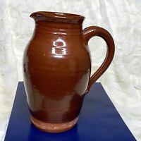 1983 Mark Presher 8.5in Brown Glaze Stoneware Pottery Pitcher Vintage Signed