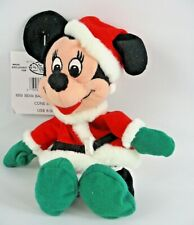 New listing Vintage Disney Store Minnie Mouse Christmas Santa Outfit Bean Bag Plush Toy 7 In
