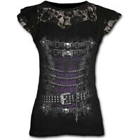 Spiral Direct WAISTED CORSET Lace Layered Cap Sleeve Top, Goth, Steam Punk, Rock
