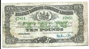 Northern Ireland Belfast Banking Company Ltd (P128b) 10 Pounds 1943