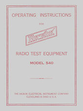 Hickok Model 540 Dynamic Mutual Conductance Tube Tester Manual