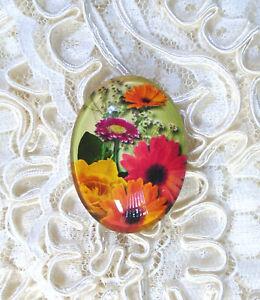 30X40mm Autumn Floral NO GlittKidser Unset Handmade Glass Art Bubble Cameo Cab