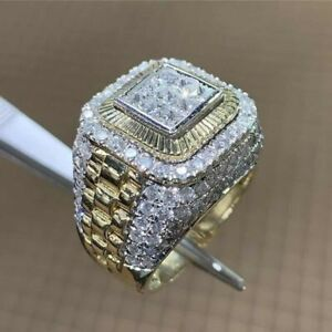 Hip Hop Men's Gold Plated Ring Rhinestone Jewelry Wedding Party Rings Gift #7-12