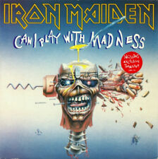 """Iron Maiden Can I Play With Madness 7"""" Vinyl UK EMI 1988 Black and White Paper"""