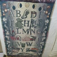 Vintage Woven Tapestry Throw Blanket Alphabet Garden Harvest Season Moon 45 x 66