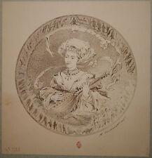 Dessin Ancien Encre Portrait Femme Musicienne Mandoline HENRI TOUSSAINT FIN XIXe