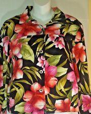 Caribbean Joe Let Go Women's Floral Jacket Black Pink Sz M Vibrant Long Sleeve