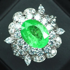EMERALD GREEN OVAL 6.70 CT.SAPPHIRE 925 STERLING SILVER RING SIZE 6.5 GIFT WOMEN