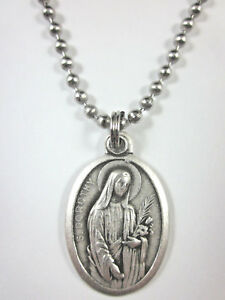 """St Dorothy Medal Italy Pendant Necklace 24"""" Ball Chain Gift Box & Prayer Card"""