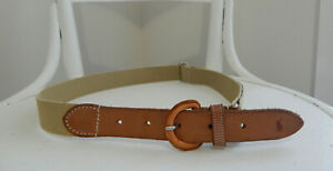 Polo Ralph Lauren Tan Leather & Beige Canvas Skinny BELT Great Britain S to L