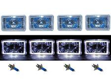 "4X6"" White Halo Projector Halogen H4 Headlight Headlamp Bulbs Crystal Clear Set"