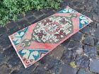Small rug, Geometric handmade rug, Turkish bohemian kitchen rug | 1,2 x 2,5 ft