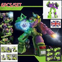 25CM Transformers Construction 6PCS Vehicle Robot Devastator Action Figure Toys