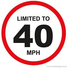 20 x limitato al 40 MPH veicolo limitazione della velocità PARAURTI stampato AUTO FURGONE ADESIVO