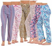 Ladies Pyjama Bottoms 100% Cotton Printed Lightweight Soft Lounge Pants M to XXL
