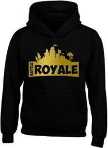 Boys Battle Royale Gold Slogan Cotton Hoody Kids Black Fortnite Gaming Top Kids