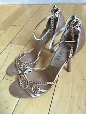 Dior Women's Champagne Studded Sandals Heels Size 38