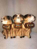 VTG 40's Tilso Japan Pottery Art 3 Saint Bernard Puppy Dog Beer Keg Collars Bank