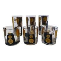 Vintage Cera Gold/Black Coin Tumblers and Rocks Glasses ~ Set of 6