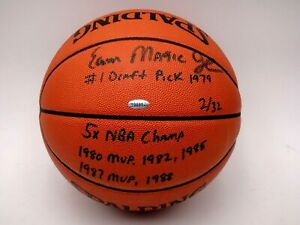 MAGIC JOHNSON STAT INSCRIPTIONS SIGNED BASKETBALL STEINER CERTIFIED AUTOGRAPHED