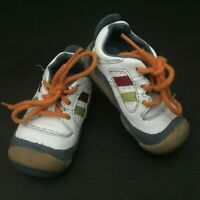 "Sz 3.5W STRIDE RITE ""Scooter"" Baby Boys White & Navy Laces Sneakers Shoes"