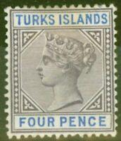 Turks & Caicos Is 1895 4d Dull Purple & Ultramarine SG71 Fine Mtd Mint