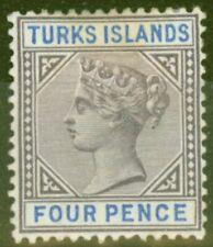 More details for turks & caicos is 1895 4d dull purple & ultramarine sg71 fine mtd mint
