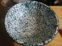 Vintage Large Green White Splatter Enamelware Bowl Black Trim Enamel Ware Rustic