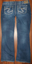 WOMENS SILVER BRAND PIONEER FLAP POCKET DISTRESSED STRETCH FIT JEANS SIZE 16X33