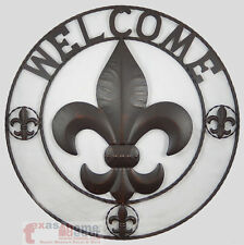 24 Metal Fleur De Lis Welcome Sign Plaque Wall Mounted French Decor Brown