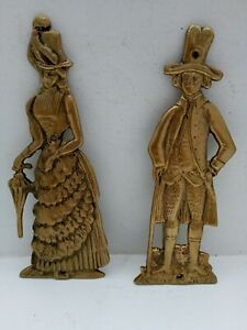 Pair of Vintage Brass Wall Plaques 9 inch Victorian Lady & Gent Pub Toilet Signs